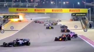 Romain Grosjean's Car Bursts Into Flames During F1 Crash
