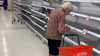 Elderly Woman 'In Tears' At Empty Supermarket Highlights Panic Buying Crisis