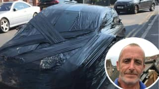 Man Wraps Car That Parked In His Space In Black Plastic