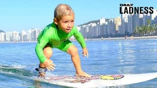 Little Boy Learnt How To Surf Completed Unaided By The Age Of Two