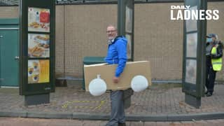 Customer Builds Cardboard Car And Turns Up To McDonald's Drive-Thru