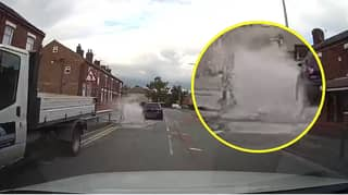 Driver 'Deliberately' Swerves Into Puddle And Drenches Kid