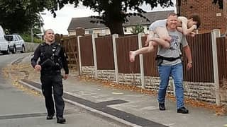 Laughing Policeman Carries Half-Naked Drug Dealer After He Tries Escaping