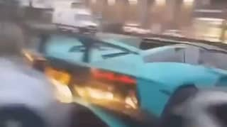 Dramatic Moment Lamborghini Is Rear-Ended By Ford Fiesta
