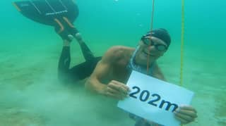 Man Sets World Record For Longest Swim Underwater In Ocean With One Breath