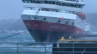 Storm Weather Blows Ship Against Harbour Dock With Passengers Still Onboard