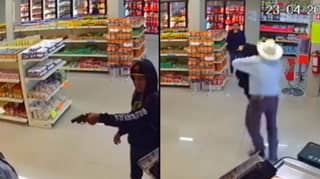 CCTV Captures Heart-Stopping Moment Cowboy Takes Down Armed Robber In Store