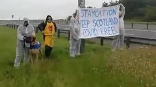 Protesters Gather At Scottish Border Telling English People To Stay Out