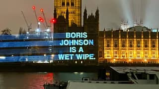 YouTubers Project 'Boris Johnson Is A Wet Wipe' Onto Houses Of Parliament