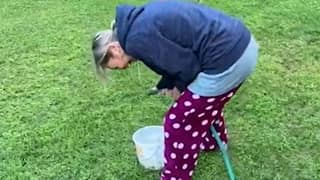 Husband With Poor Toilet Aim Challenges Wife To Try It Out With Bucket And Hose
