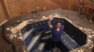 Couple Uncover Huge Hot Tub Under The Floor Of Their Home Office