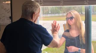 Woman Shows Grandfather Engagement Ring Through Window Due To Coronavirus Restrictions