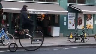 Man Riding Penny Farthing In London Crashes Into Delivery Van