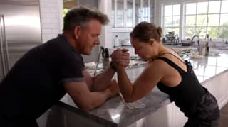 Gordon Ramsay And Ronda Rousey Arm Wrestle On Kitchen Counter