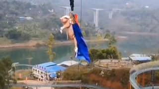 Squealing Pig Thrown Off Bungee Jump At Chinese Theme Park
