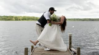 Hilarious Moment A Bride And Groom Took A Dip Recreating A Dance Move