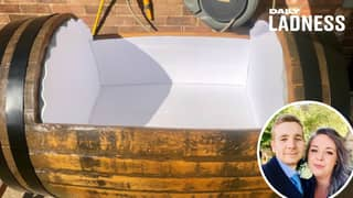 Dad-To-Be Builds Sleeper Cot Out Of Jack Daniel's Barrel For His Baby