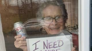 93-Year-Old Woman Uses Sign To Ask For More Beer During Lockdown