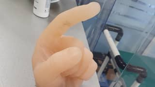 Guy Brings Silicone Finger On A Stick To Office He Has To Visit During Lockdown