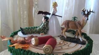 Couple Order Wedding Cake Depicting Armed Bride Hunting Her Groom