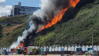 Visitors Forced To Flee Bournemouth Beach As Fire Breaks Out