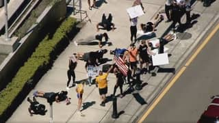 Protesters Exercise Outside Courthouse Calling For Gyms To Reopen