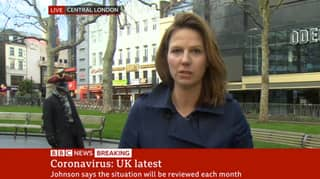 Person In Fancy Dress Walks Around Behind BBC Reporter During Live Broadcast