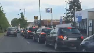 Huge Line Of Cars Queue For McDonald's After Drive Thru Reopens