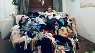 Mum Amasses Huge Clothes Pile After Two Months Without Putting Washing Away