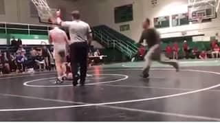 Dad Tackles Son's Wrestling Opponent To The Floor After 'Illegal' Move