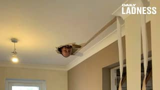 Man's DIY Fail Ends Up With Him Falling Through The Ceiling