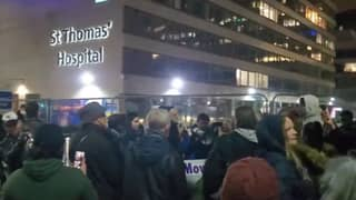 Maskless Protesters Shout 'Covid Is A Hoax' At London Hospital