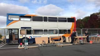 Double Decker Bus Transformed Into 12-Bed Homeless Shelter