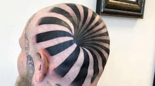 Optical Illusion Tattoo Looks Like A Hole In Man's Bald Head