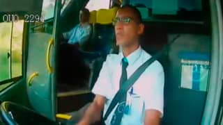 Bus Driver's Rapid Reflexes Save Passengers From Head On Collision