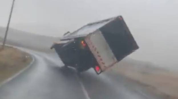 Shocking Moment High Winds From Storm Jorge Blow Over Truck