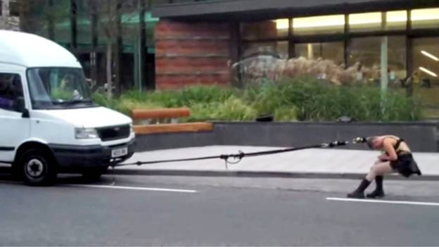 Woman Pulls Van To Petrol Station Using Her Hair