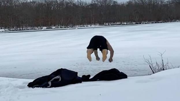 UFC Fighter Cracks His Head Open Diving Into Frozen Lake