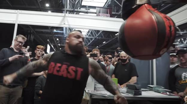 Eddie Hall Breaks Punching Machine After Hitting It Too Hard