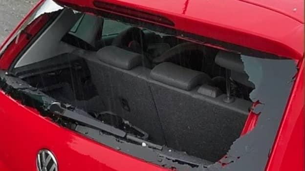 'Golf Ball' Hailstones Smash Through Car Window During Storm