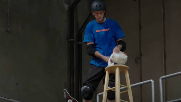 Tony Hawk Performs Incredible Trick While Holding Glass Of Milk