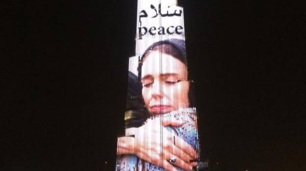 World's Tallest Building In Dubai Lit Up With Picture Of New Zealand Prime Minister