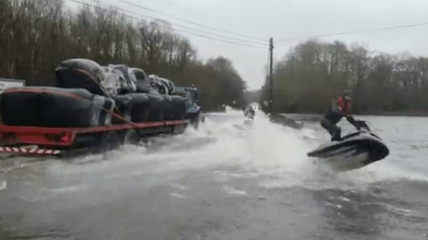 Jet Skiers Perform Tricks On Flooded Roads In Ireland After Storm Jorge