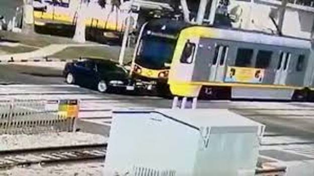 BMW Driver Miraculously Survives Full Speed Collision With LA Metro Train