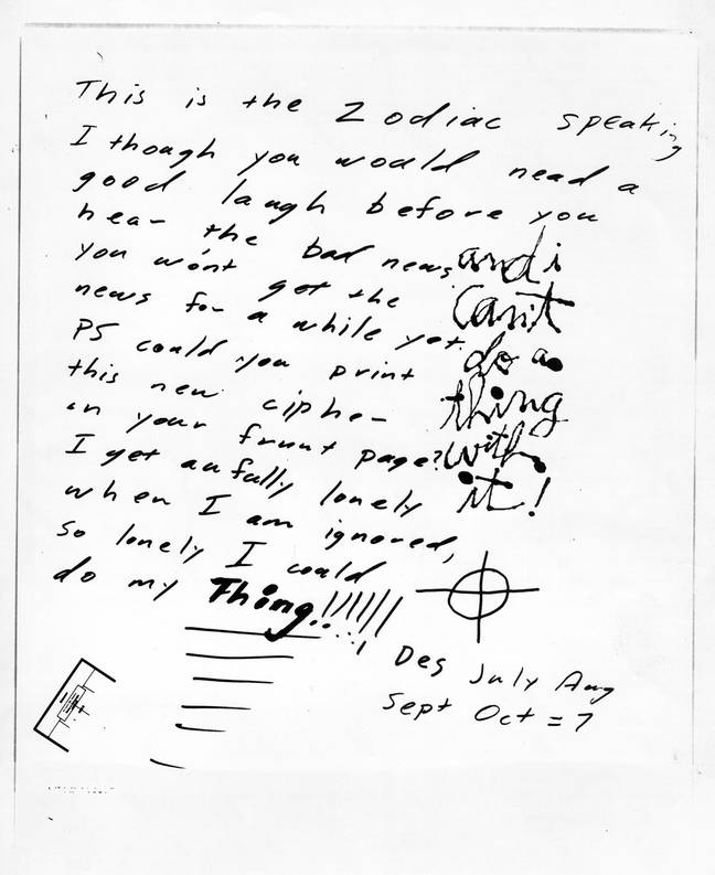 One of the letters sent to the press by the Zodiac Killer. Credit: PA