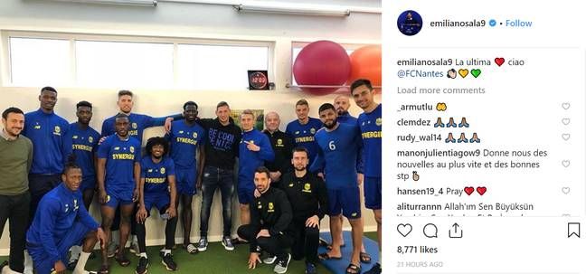 Sala said goodbye to his Nantes teammates on Instagram. Credit: Instagram/emilianosala9
