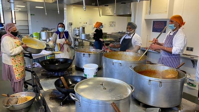 People at Guru Nanak Darbar Gurdwara in Gravesend have been working to prepare food for stranded lorry drivers. Credit: Guru Nanak Darbar Gurdwara Gravesend