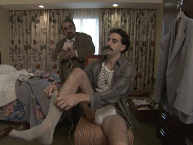 Davitian with Sacha Baron Cohen in the first Borat film. Credit: 20th Century Fox