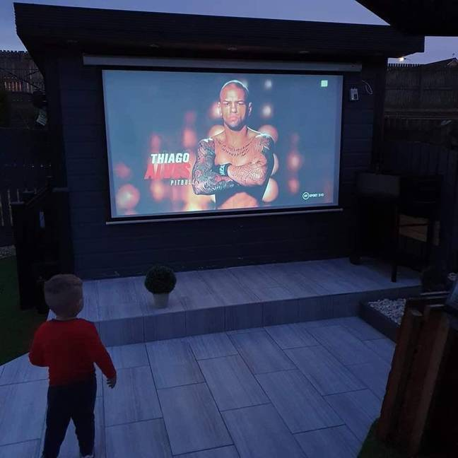 Stephen has put a projector so he'll never miss the game again. Credit: LADbible