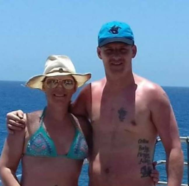 Colline with her husband Julian in Tenerife. Credit: Triangle News